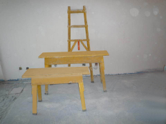 专用梯子马凳(黄色), 安全性强,保证工人安全施工。